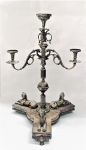 Lot 1 - Victorian Walker & Hall Silverplate 4 arm Candelabrum - 3 sphinx to base - claw feet - hounds head to curled arm section 71cm H - Marks to base