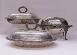 Lot 2 - 3 x Quality EPNS serving tureens inc footed buffet style with swing lid, 2 x oval tureens with scroll removeable handles