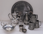 Lot 3 - Group lot of Metal Ware inc EPNS Teapot, Coffee Pot, Jug with cane wrapped handle, Glass & EPNS sugar sifter, Large Tray, Pewter Tankards with Yarra Y