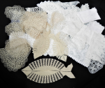 Lot 6 - Group lot of vintage ecru and white doilies and tray cloths - tatting , crochet, lace and tape lace - approx 38 pieces