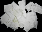 Lot 7 - Large lot of vintage white Napery including supper cloths, napkins, table runners, doilies - linen, cotton, crochet trim, embroidered, cut work, tape