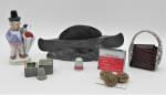 Lot 11 - Group lot vintage sewing items including Art Nouveau pewter canoe pin cushion, Japanese china figural man with umbrella pin cushion, Meir and Oelhaf