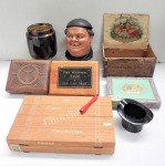 Lot 12 - Group lot of Tobacco related items including, wooden cigar boxes - chip carved, decorative labels, Henri Wintermans, Moet and Chandon Lido top hat ash