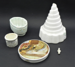 Lot 13 - Small group lot vintage mostly kitchen related china inc, Wedgwood conical jelly mould, smaller jelly mould, English Holloways ointment pot, Frozen Ch