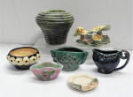Lot 15 - Group lot of vintage Australian hand built pottery including coil vase, mushrooms, vases and bowl with pierced or applied decoration - assorted glazes