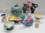 Lot 16 - Group lot - Australian Dyson Pottery items including, jugs, pear shaped dish with applied leaf, cheese dome, jug with applied decoration, hand painted