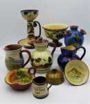 Lot 22 - 10 x English Torquay Pottery items - assorted factories and sizes including, Motto Ware, jugs, candle holder, souvenir ware, tea pot etc -  most with