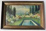 Lot 23 - R Atkinson Fox Large framed Colour Print - The Spring Garden - Printed signature + M & B NY, lower right - frame size 62x91cm