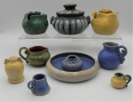 Lot 25 - Group lot - Australian Dyson Pottery items including, candle holders, small Corroboree casserole, jugs, etc - assorted glazes, sizes and decoration