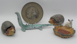 Lot 26 - Group lot - mostly vintage English Pottery  Porcelain items including 2 x lidded Wade hedgehog trinket boxes and dish with dog, Poole Pottery small pl