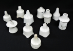 Lot 29 - Group lot - vintage pottery  white Pie Funnels including French, Nutbrown, Rowlands Hygienic Patent No 2, The Gourmet Cup, etc - some AF