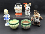 Lot 31 - Group lot - Vintage Japanese China - Character Jug, 2 mini Planters, Dog figure with Ribbon around head, etc - most pieces marked - tallest 14cm H