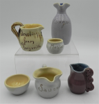 Lot 32 - Small lot - vintage Australian Beryl Armstrong Pottery inc, Log Cabin jug with gumnuts and twist handle, other jugs, mustard bowl, etc - assorted glaz