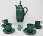 Lot 35 - Mardi Australian Pottery Coffee Set, green glaze, incl Pot, 4 x Cups and Saucer and creamer, incised marks to base - 27cm H