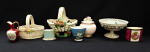 Lot 37 - Group lot of Mixed Pretty China inc Goebel vase with Claude Monet Water Lilies decoration, 7cm H, Dresden Comport with pierced rim & raised flowers, 1