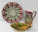 Lot 38 - 3 x pces French Majolica incl Onaping Art Nouveau Iris Pitcher, small chip to base, marked to base Frei Onaping 478 - 15cm H, Iris Farandole Plate 25c