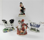 Lot 39 - Group Lot of 19th century ceramics with damage or repairs, incl  English Staffordshire Figurine , Cow creamer, Flat back etc