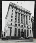 Lot 52 - Large c1970s Blockmount Print of B&W Photograph of Port Authority Building in Market St Melbourne with HD Panel Van parked in front and Ford LTD drivi