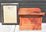 Lot 54 - 2 x pieces - old Pine box with Lift up Top + Framed c1920s Thomson & Taylor Melbourne Snooker Rules poster, some damage sighted, original cond - frame