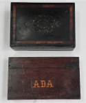 Lot 57 - 2 x Vintage c1900 Boxes - hand built box with text ADA to lid & underside + Victorian veneered A-F - ada box approx 30cm L