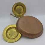 Lot 58 - Group Lot of Copper and Brass incl Pair of Royal Scots Brass dishes with central regimental motto 'Nemo me impune Lacessit', order of the thistle, 15c