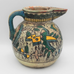 Lot 60 - Vintage c1930s Japanese ceramic Ewer, incised and painted with Modernist geometric patterns and sgraffito, stamped made in Japan to base - 25cm H 28cm