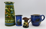 Lot 61 - 4 x vintage English Torquay Pottery items - assorted factories and sizes including vase, jugs all with hand painted decoration