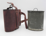 Lot 65 - Vintage Military style Canteen - leather fitted case marked Suprema with original tin cup & billy, no marks sighted