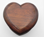 Lot 66 - Vintage cWW2 Heart Shaped Trench Art wooden Box - Purported to be made from old Aeroplane propeller - laminated wood, original lined interior - approx