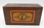 Lot 67 - Wooden Missionary  box for Society for the Propagation of there Gospel - printed instructions to base - 15cms W 9cms 6cms H