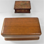 Lot 71 - 2 x c1930 Australian wooden boxes incl hand decorated with peacock signed MHarold 13cm L and a sewing box 11cm H 28cm L