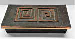 Lot 72 - Mid Century modern heavy Copper alloy Box - stylised period design to lid, looks to be signed to one corner but illegible - 22cm L
