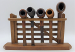 Lot 74 - Collection of 5 x Vintage Pipes on wooden stand incl Barling's Make London, Hardcastle, leather covered French Ropp, M&T, Dr Plumb - complete in fine
