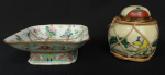 Lot 77 - 2 x Vintage Chinese ceramics inc 19th Century Cantonese Square footed Comport 15 x 15cm character marks to base & lidded Ginger Jar