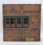 Lot 78 - 19th Century Japanese Tansu Yosegi miniature cabinet with inlaid marquetry, drawers, sliding panels and My Fuji image, approx 30cm H, 30cm L, 13cm D,