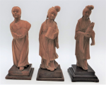 Lot 79 -  3 x Vintage Chinese Boxwood Carved Statues of Traditional Women on wooden stands - 17cm H