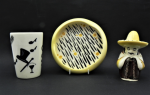 Lot 80 -  3 x pces 1950s Australian Pottery incl 2 pces - Vase and Dish - incised Florenz to base, and a Mexican toothpick holder with John Leslie Label - 10cm