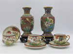 Lot 83 - Group lot of Oriental inc Pair of Cloisonne Vases with stands Floral & Birds on a tan base 16cm H  & 3 x Egg shell cups & saucers with waterbird scene