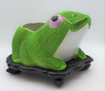 Lot 84 - Chinese 19th century Lucky Frog Planter, Green Textured Body, on a carved Lotus wooden base, 18cm H, 27cm L 20cm W