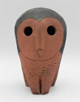 Lot 87 - Mid Century Modern Pottery Owl in the style of Australian Schaer - terracotta with black oxide - approx 14cm H