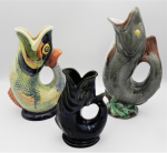 Lot 89 -  3 x  Vintage Pottery Fish shaped Mint, Glug or Gurgle Vases, 2 x English and another, 2  af - Tallest 29cm H