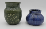 Lot 91 - 2 x 1930s - 50s  Australian John Campbell  Pottery small vases - green glazed with incised text Vicki 1959 and a blue drip - 6 and 9cm H