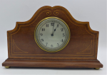 Lot 94 - Vintage French Mantel Clock, inlaid marquetry classical wooden case, bevelled glass on Arabic numeral dial, French key wound movement, clean, working