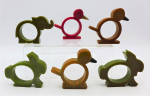 Lot 95 - Group Lot of Bakelite Napkin Rings, 6 x Birds and Rabbits, one bird cracked - approx 6cm H
