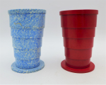 Lot 99 -  2 x Bakelite Telescopic Cups, in Red and Mottled Blue, both with Scott makers mark to base and lid - 11m H 7cm D