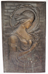 Lot 104 - Vintage Embossed Plaque in Art Nouveau Style of Alphonse Mucha Nature Woman, brass on board, patinated - 58cm H
