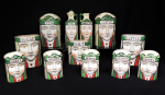 Lot 107 - Art Deco Japanese Ceramic Figural Canister Set in Green colour by MEPOCO, 3 x lids missing, some pieces af, Japan Crown with H stamps to base - a rare