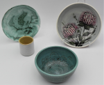 Lot 108 - 4 x vintage Australian Studio Pottery items including Allan Lowe tooth pick holder, Janet Gray bowl, an Isobel dish and hand painted bowl with banksia