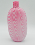 Lot 114 - Vintage English Nailsea glass pink & white flask - ground pontil on angle causing lean  18cm H