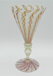 Lot 116 - Vintage Murano Latticino Glass Goblet - 8 sided rim - clear stem with gold aventurine pink white and clear ribbon style pattern 17cm H